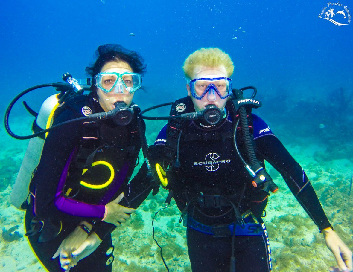 Honeymoon couple scuba diving