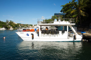Scuba diving boat in La Romana harbour