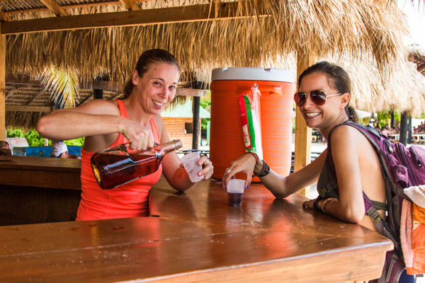 Serving drinks at beach bar